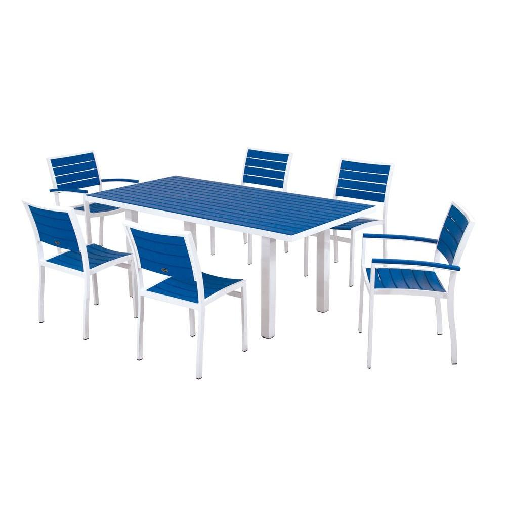 POLYWOOD Euro Gloss White 7-Piece Patio Dining Set with Pacific Blue Slats-DISCONTINUED