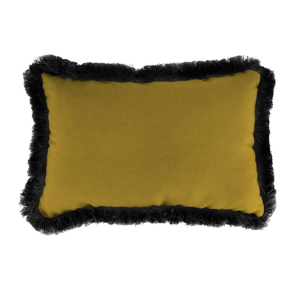 Jordan Manufacturing Sunbrella 9 in. x 22 in. Canvas Maize Lumbar Outdoor Pillow with Black Fringe