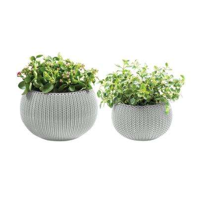 Knit Cozie 11 in. and 14.2 in. Dia Oasis White Small and Medium Resin Planters (2-Piece Set)