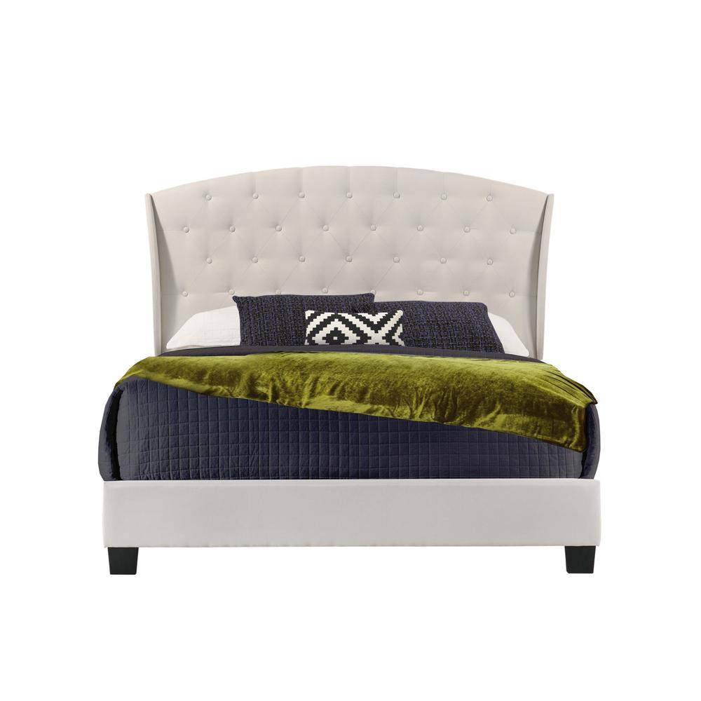 Boca Grande Beige Linen Queen Upholstered Bed