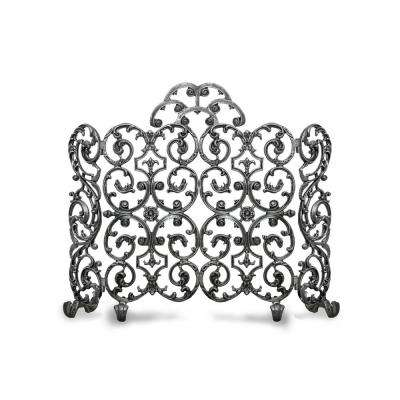 Avalon Silver Rub 2-Panel 46 in. wide Fireplace Screen with Arch and Sides