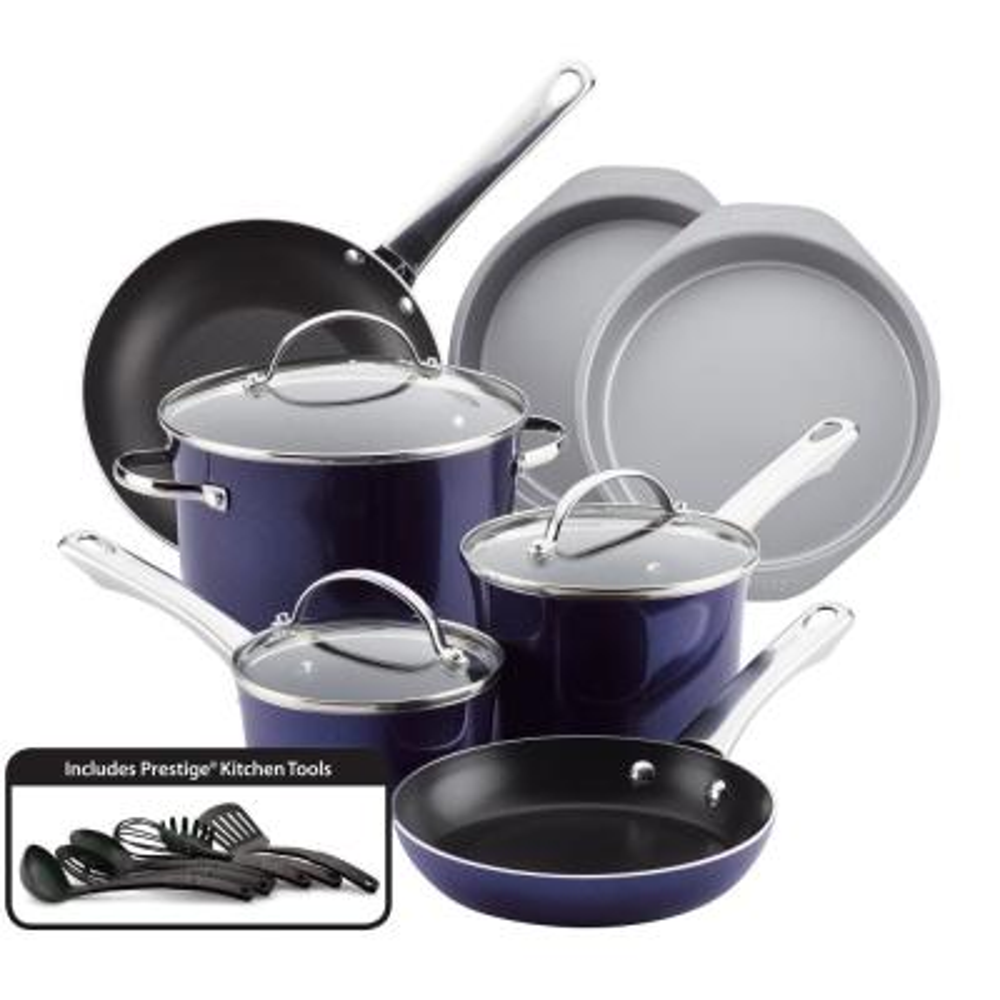 Luminescence 16-Piece Aluminum Nonstick Cookware Set in Sapphire Shimmer