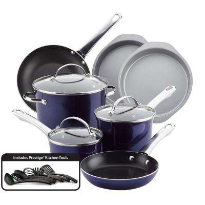 16-Piece Sapphire Shimmer Luminescence Aluminum Non-Stick Cookware Set