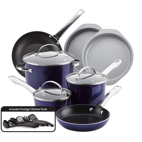 16-Piece Sapphire Shimmer Luminescence Aluminum Non-Stick Cookware Set 11857