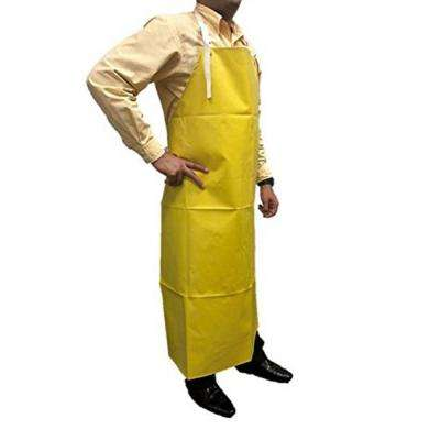 Heavy Duty Nitrile Industrial Bib Apron, Chemical and Oil Resistant (Yellow)