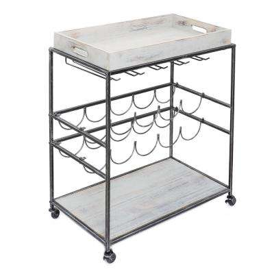 Avalon 28 in. x 16 in. x 32 in. Wine and Serving Cart in Antique Pewter, Barnwood Gray Stained Rubberwood