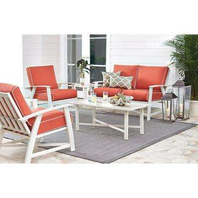 Great St. Augustine 5 Piece Aluminum Patio Chat Set With Coral Cushions