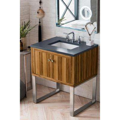 Westlake 30 in. Single Bath Vanity in Natural Apple Wood with Quartz Vanity Top in Charcoal Soapstone with White Basin
