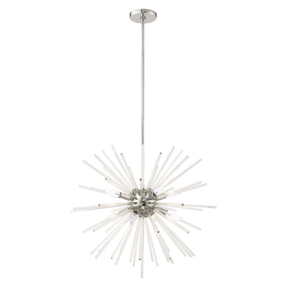 Livex Lighting Utopia 8 Light Polished Chrome Starburst Pendant Chandelier With Clear Crystal Rods