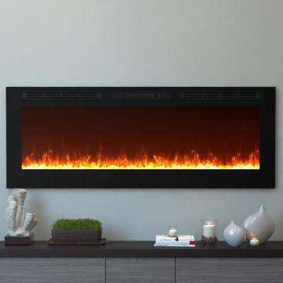 Cynergy 60 in. XL Crystal Electric Recessed Built-In Fireplace in Black
