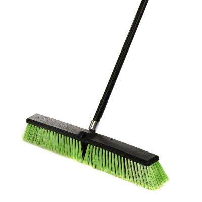 24 in. Green Indoor Outdoor Multi-Surface Push Broom (3-Pack)