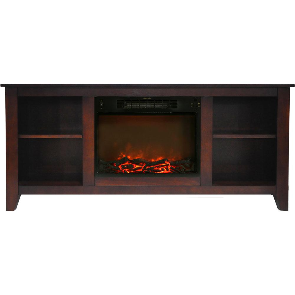 Bel Air 63 in. Electric Fireplace and Entertainment Stand in Mahogany