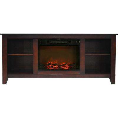 Bel Air 63 in. Electric Fireplace and Entertainment Stand in Mahogany with 1500-Watt Charred Log Insert
