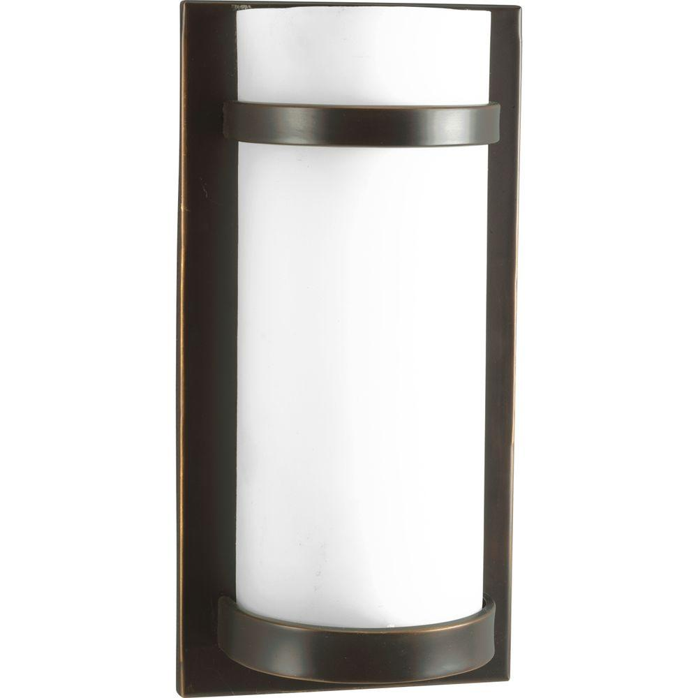 Progress Lighting 1-Light Antique Bronze Wall Sconce with Opal Etched Glass