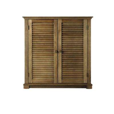 Shutter 35 in. W Weathered Oak 2-Door Shoe Storage