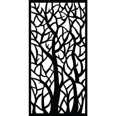 Woodland 71 in. x 2.95 ft. Charcoal Recycled Plastic Decorative Fence Panel Screen with Slimline Frame