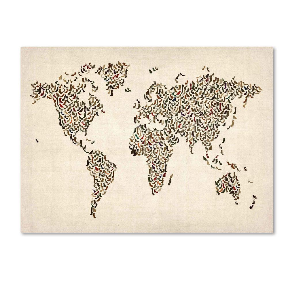 30 in. x 47 in. Ladies Shoes World Map Canvas Art