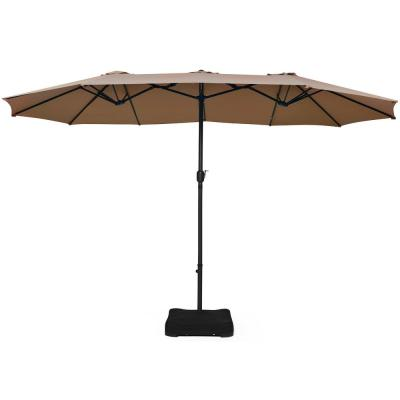 15 ft. Double Sided Outdoor Market Patio Umbrella in Tan