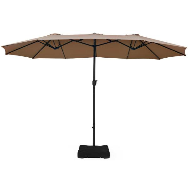 15 ft. Market Double Sided Umbrella Outdoor Patio Umbrella with Crank and Base Tan