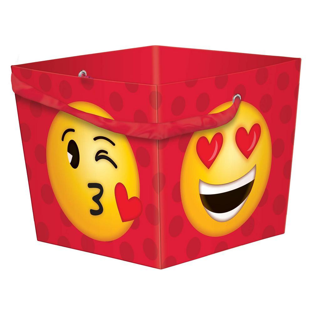 4.25 in. x 5.25 in. x 4.125 in. Valentine's Day Emoji Paper Square Bucket (6-Pack)