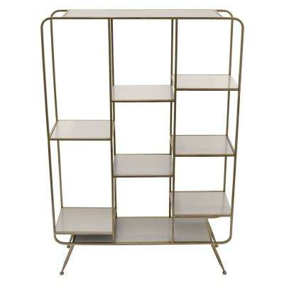 35.5 in. x 9.75 in. Wood and Metal Shelf - Champagne in Champagne