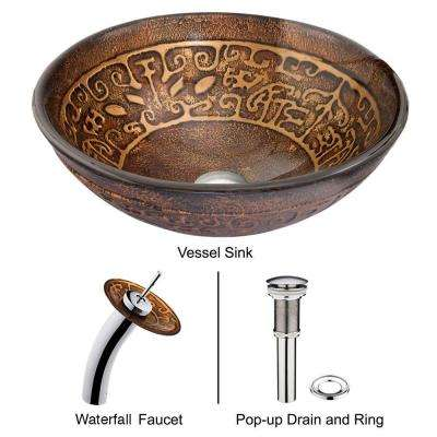 Golden Greek Vessel Sink in Brown with Waterfall Faucet in Chrome