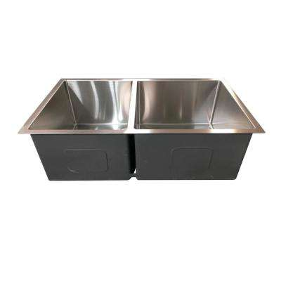 Hardy Undermount Stainless Steel 32 in. 40/60 Double Bowl Kitchen Sink