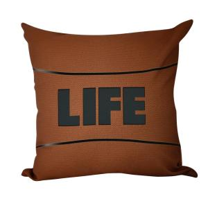 16 inch Life Word Print Decorative Pillow by