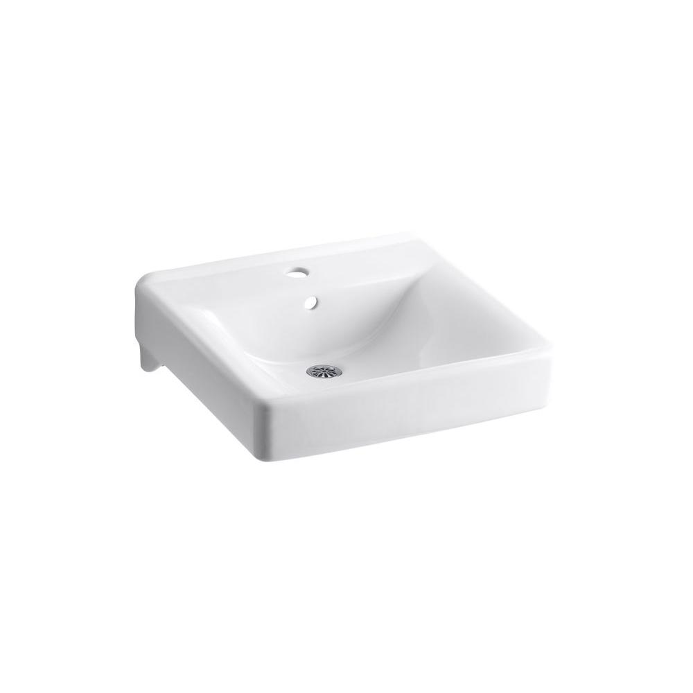 Kohler Soho Wall Mount Vitreous China Bathroom Sink In White With Overflow Drain K 2084 0 The Home Depot