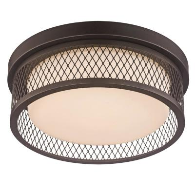 12 in. 20-Watt Equivalent Rubbed Oil Bronze Integrated LED Flush Mount Ceiling Light with Metal Shade