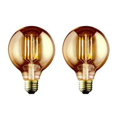 60W Equivalent Warm White G25 Amber Lens Vintage Globe Dimmable LED Light Bulb (2-Pack)