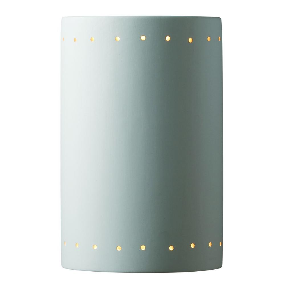 Leonidas 1-Light Paintable Ceramic Bisque Large Cylinder Closed Top Sconce with