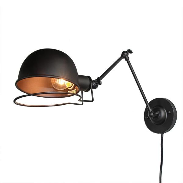 1-Light Black Swing Arms Wall Sconce