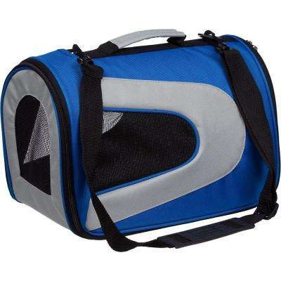 Airline Approved Blue Sporty Folding Zippered Mesh Carrier - Medium