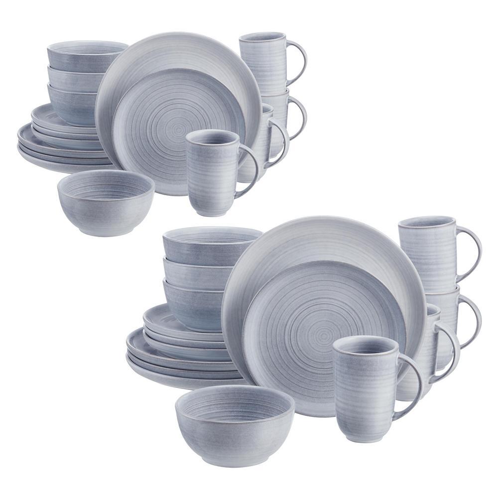 Blakely 32-Piece Reactive Glaze Raindrop Blue Stoneware Dinnerware Set (Service for 8)