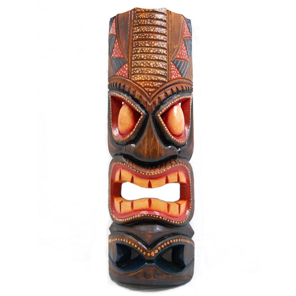 20 in. Tiki Mask Hawaiian Dot Art Wood Wall Decor