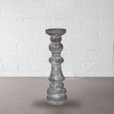 Gray Finish Pillar Like Traditional Style Small Candle Holder