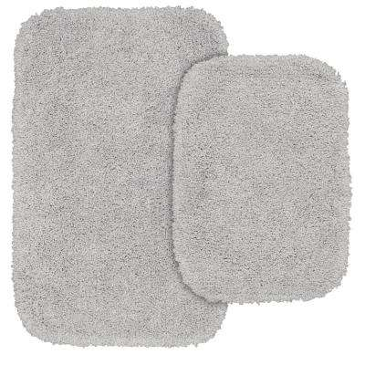 Serendipity 2 Piece Washable Bathroom Rug Set in Platinum Gray