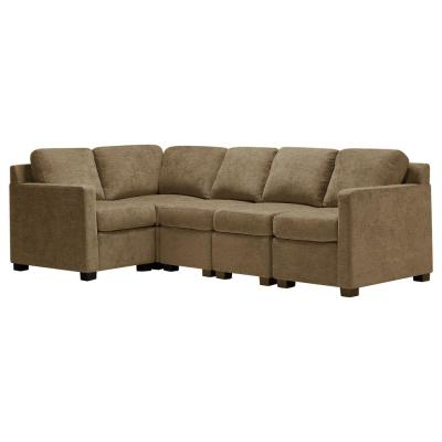 Chi Town 5-Piece Mocha Brown Polyester L-Shaped Sectional Sofa with Black Squared Feet