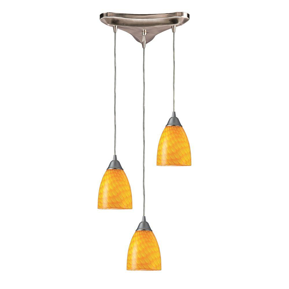 Titan Lighting Arco Baleno 3-Light Satin Nickel Pendant with Canary Glass Shade