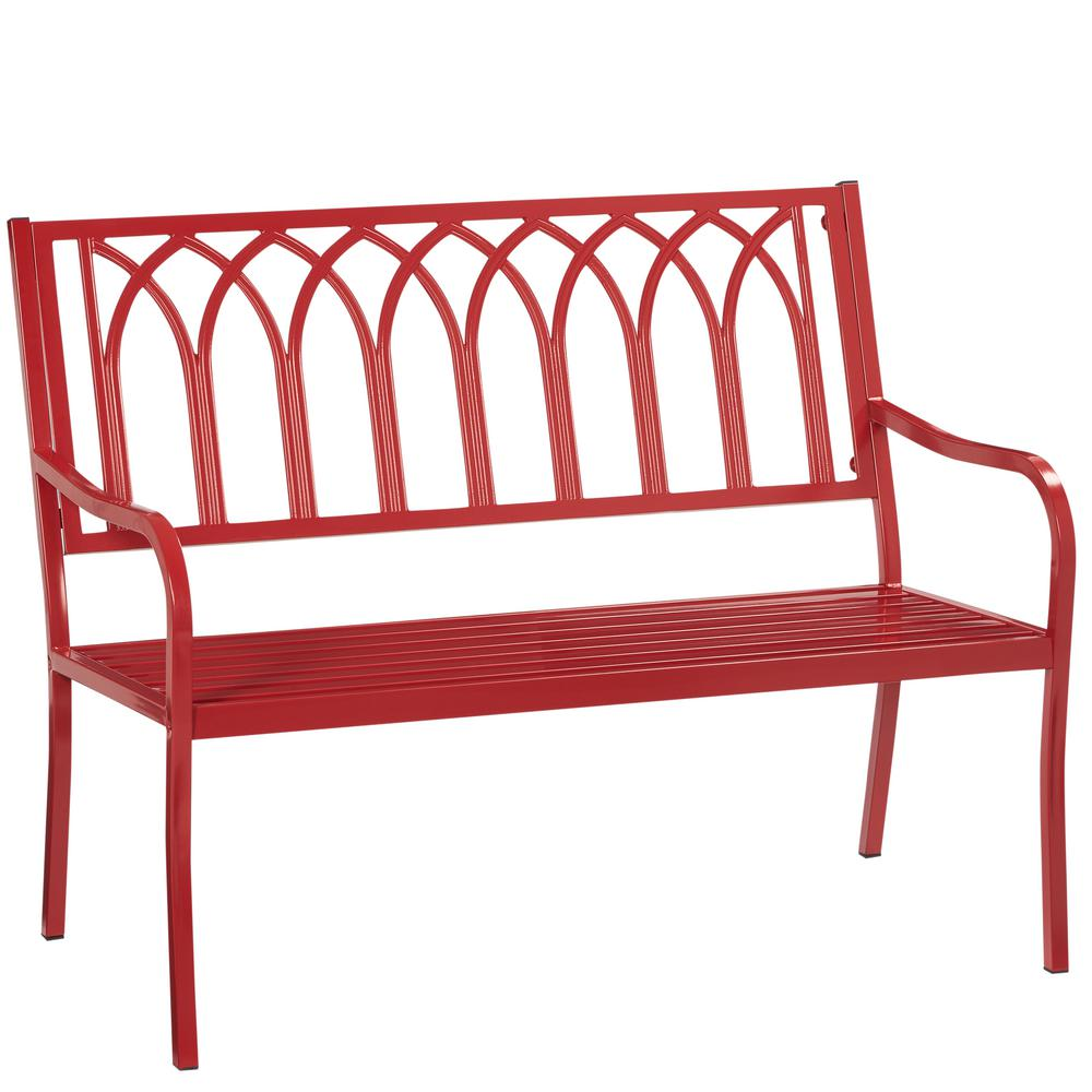 Hampton Bay Isabella Red Metal Outdoor Bench-S548-110 - The Home Depot