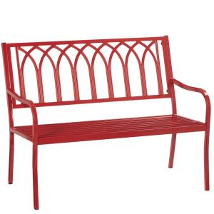 Isabella Red Metal Outdoor Bench