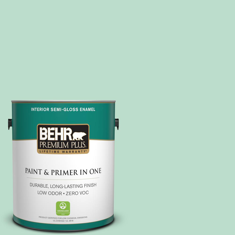 1-gal. #470C-3 Spirited Green Zero VOC Semi-Gloss Enamel Interior Paint