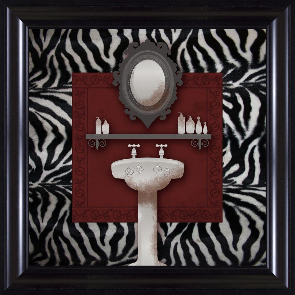 """15-1/4 in. x 15-1/4 in. """"Zebra Bath A"""" Framed Wall Art"""