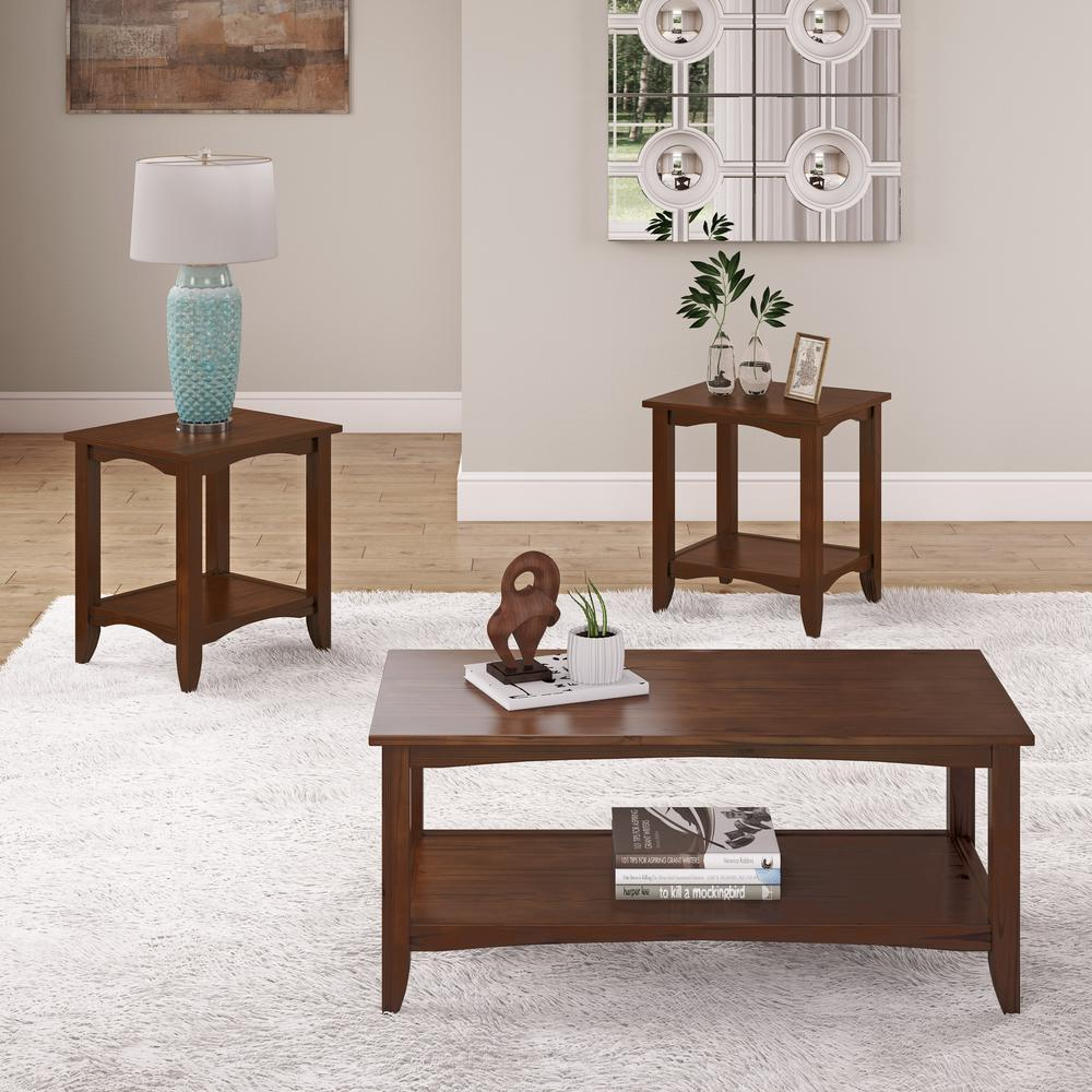 Cambridge 3-Piece Cappuccino 2-Tiered Coffee Table and End Tables Set