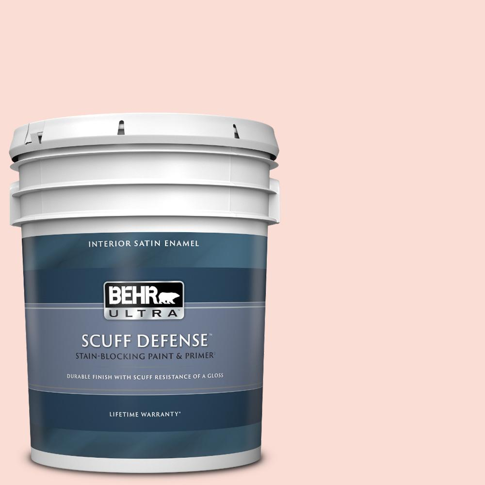 Behr Ultra 5 Gal 170a 1 Pink Parfait Extra Durable Satin Enamel Interior Paint And Primer In One 775005 The Home Depot