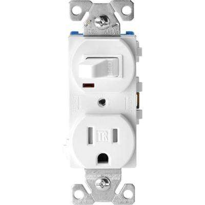 15 Amp Tamper Resistant Combination Single Pole Toggle Switch and 2-Pole Receptacle, White