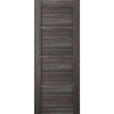 36 in. x 80 in. Nika Gray Oak Finished with Frosted Glass Solid Core Wood Composite Interior Door Slab No Bore