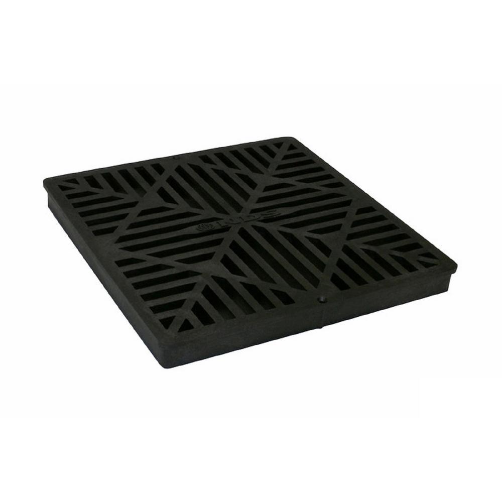 12 in. Plastic Square Drainage Catch Basin Grate in Black