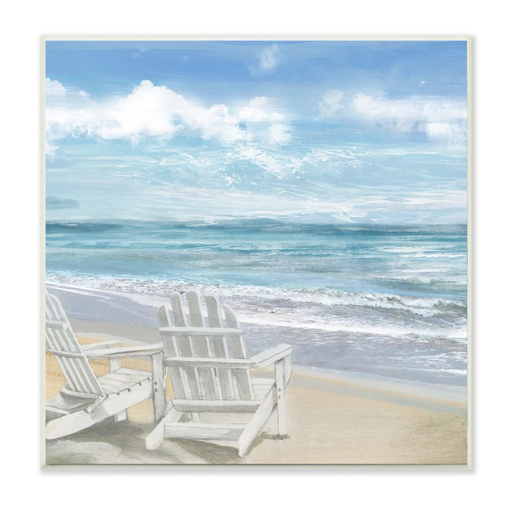Adirondack chairs on beach White Wooden Beach The Home Depot Stupell Industries 12 In 12 In